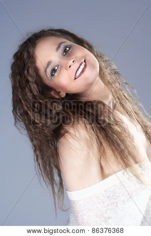 Beautiful Woman With Brown Curly Hair