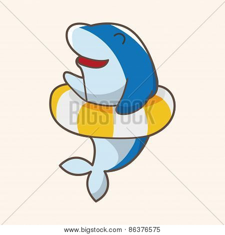 Animal Dolphin Summer Cartoon Theme Elements