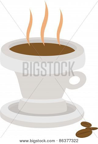 Hot coffee drink in cup with beans isolated on white background