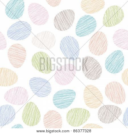 Easter pattern decoration. Easter eggs with Scratched texture. Seamless pattern.