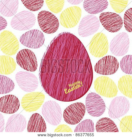'Happy Easter!' card. Easter eggs with Scratched texture.