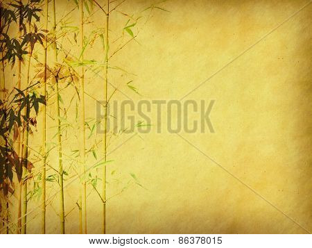 painting of bamboo on old grunge art paper