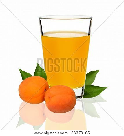 Apricot Juice In A Glass On A White Background