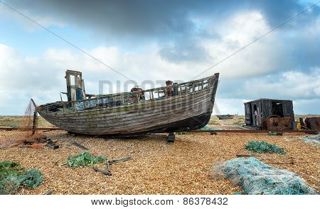 Old Boat And Fishing Hut