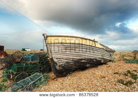 Fishing Boat And Lobster Pots