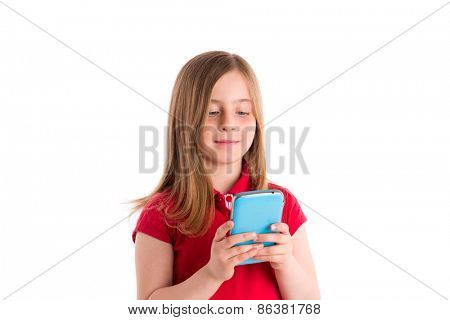 blond kid girl smiling writing fingers smartphone phone on white background