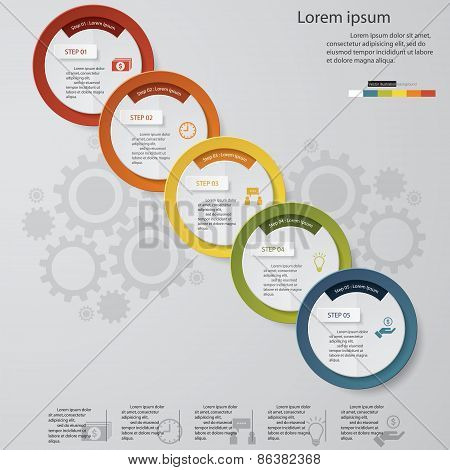 Design Business Chart 5 Steps Diagram template/graphic or website layout.