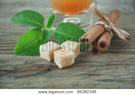 Mint Leaves Pieces Of Cinnamon And Sugar
