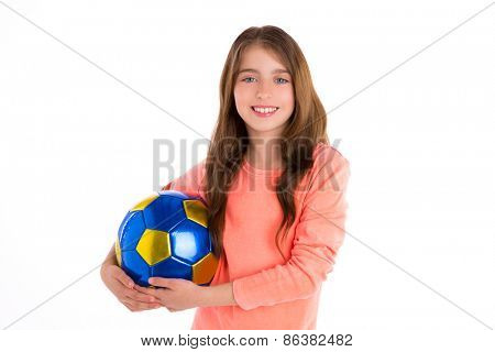 Football soccer kid girl happy player with ball on white background