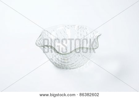 decorative glass bowl on white background