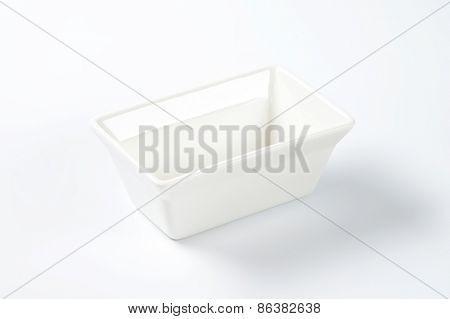 white rectangular bowl on white background