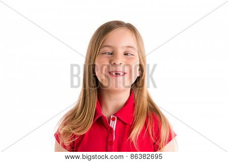 crossed eyes blond kid girl funny expression gesture in white background