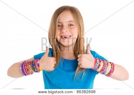Loom rubber bands bracelets blond kid girl OK thumbs fingers gesture on white