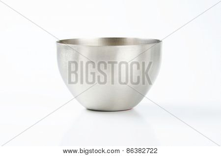 deep silver bowl on white background