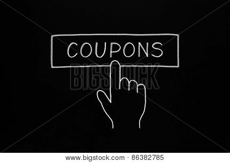 Hand Clicking Coupons Button