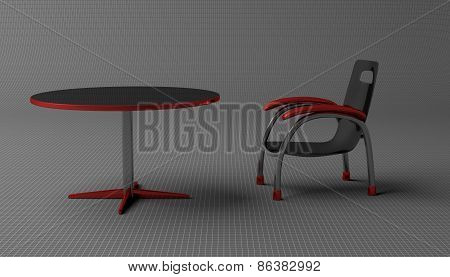 Chair And Round Table