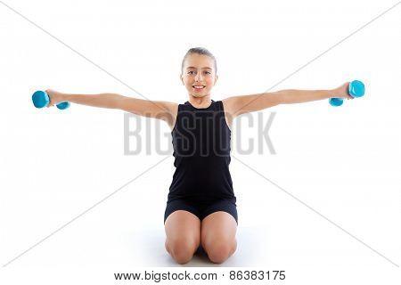 Fitness dumbbells kid girl exercise workout on white background