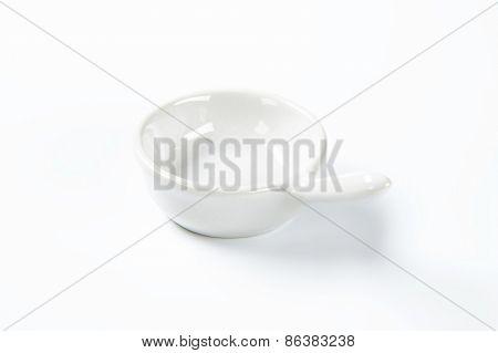 empty white skillet on white background