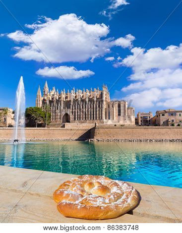 Majorca Palma Cathedral Seu Seo of Mallorca photo mount with ensaimada