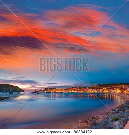 Port de Soller sunset in Majorca at Balearic island of Mallorca Spain