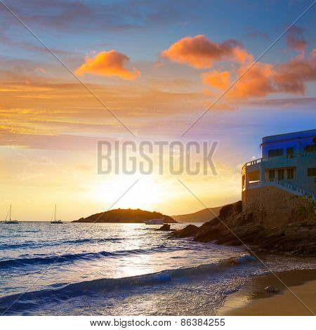 Majorca sunset in sant Elm near sa Dragonera at Mallorca Balearic islands of spain