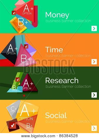 Set of infographic flat design banners with geometric diagrams and options