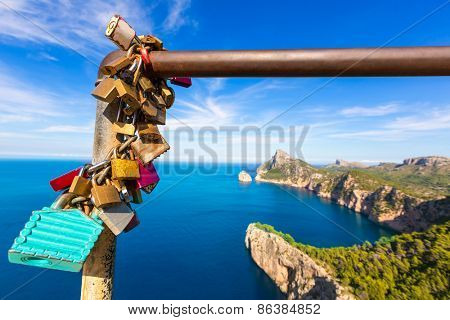 Majorca mirador Formentor Cape in Mallorca island of spain padlocks detail