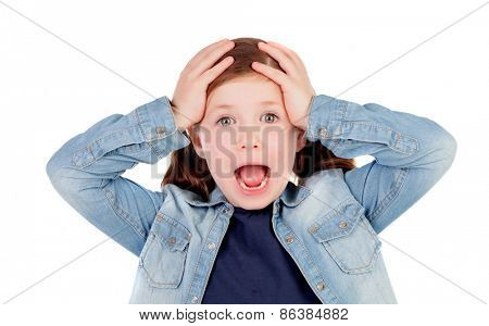 Surprised little girl with pigtails isolated on a white background