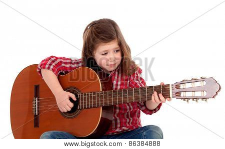 Pretty girl playing guitar isolated on white background