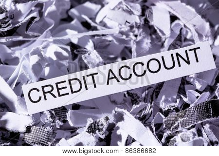 shredded paper tagged with credit account, symbolic photo for data destruction, financing and credit