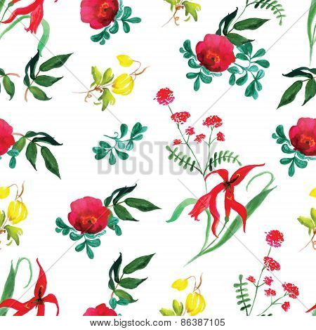 Rose And Exotic Flower Watercolor Seamless Vector Print