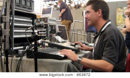 sound engineer working in TV/radio studio