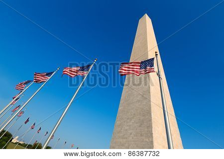 Washington Monument and american flags in District of Columbia DC USA
