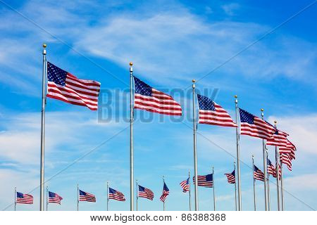 Washington Monument flags circle in DC United States USA