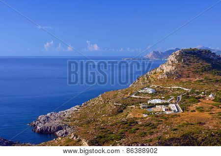 Houses in the mountains on the shores of the Mediterranean Sea