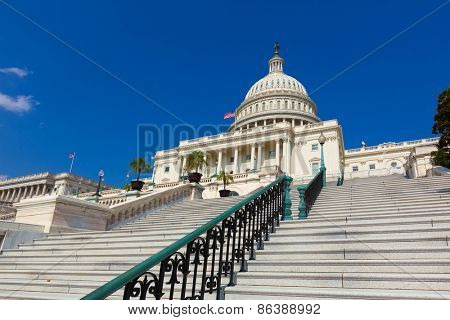 Capitol building Washington DC sunlight USA congress stairway US