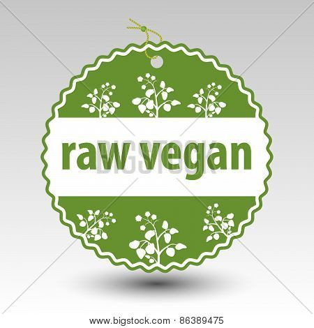Vector Green Raw Vegan Product Paper Price Tag Label