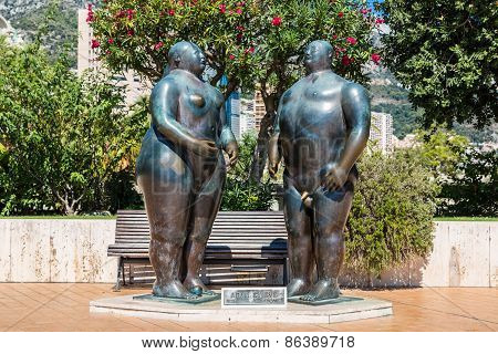 Sculpture Of Adam And Eve In Monte Carlo