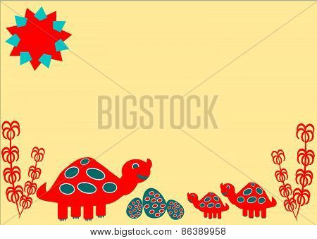 Cartoon dinosaur family with easter eggs