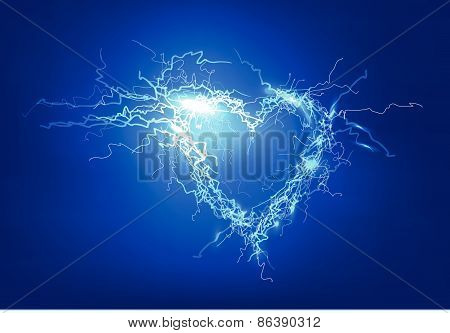 Human's heart. Electric lights effect background