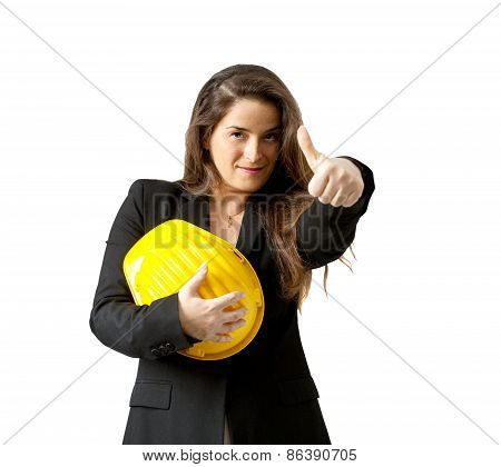 Succesful Female Engineer With Safety Helmet  Over White