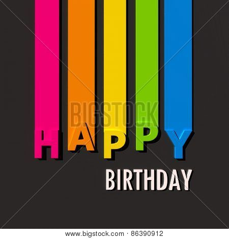 Multicolored sign on black background with the words Happy Birthday