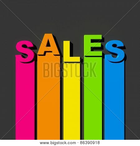 Multicolored sign on black background with the word sales