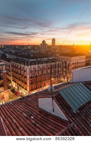 View of Madrid from the roof, sunset