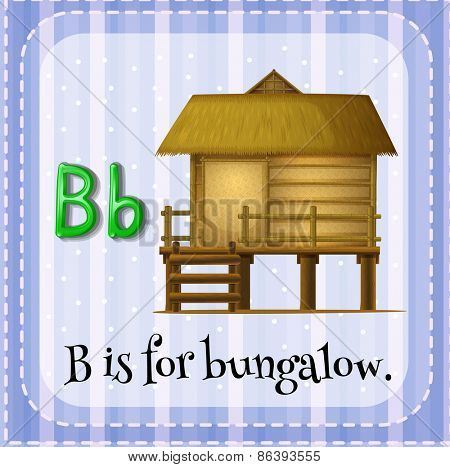 Flashcard letter B is for bungalow