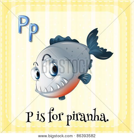 Flashcard letter P is for piranha