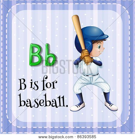 Flashcard letter B is for baseball