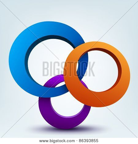 Abstract 3d vector illustration of 3d rings