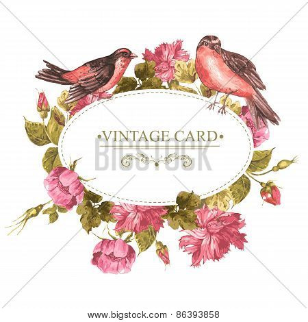 Floral Bouquet with Roses and Bird, Vintage Card