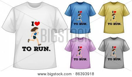 Five design of short sleeves tshirts